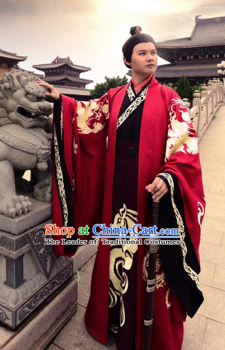 Traditional Chinese Zhou Dynasty Lang Scholar Costume Wedding Red Robe, Elegant Hanfu Chinese Emperor Embroidered Clothing for Men