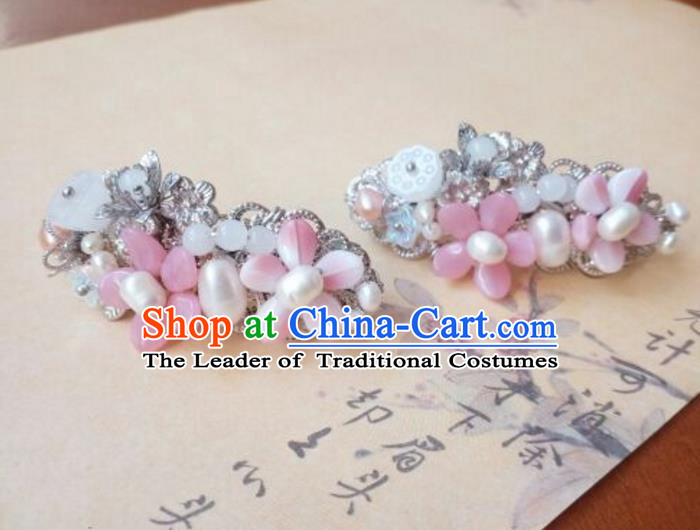 Traditional Handmade Chinese Ancient Classical Hanfu Hair Accessories Pink Oriental Cherry Hair Claw, Princess Hairpins Hair Stick Headwear for Women