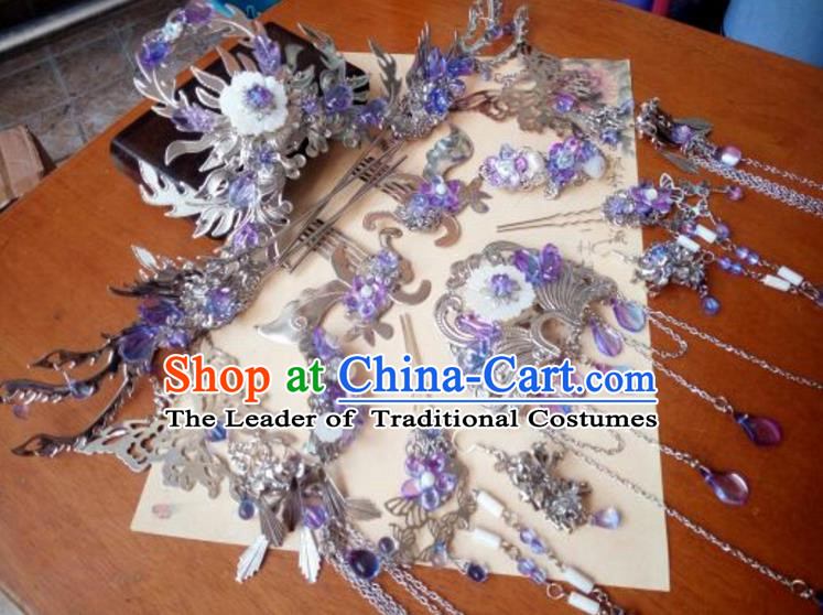 Traditional Handmade Chinese Ancient Classical Hanfu Hair Accessories Phoenix Coronet Complete Set, Princess Palace Lady Tassel Step Shake Hairpins Headwear for Women