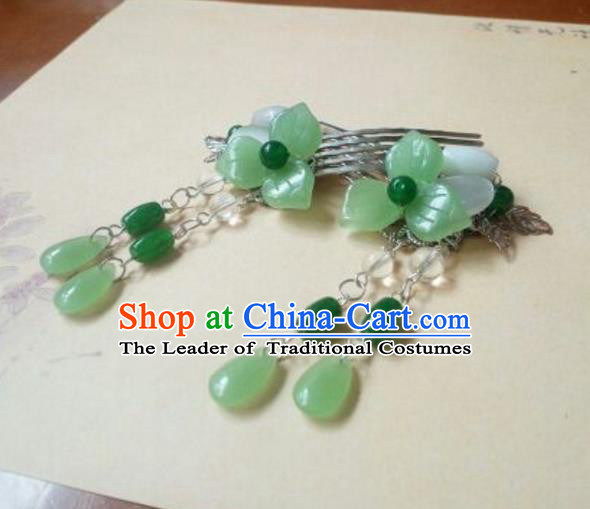 Traditional Handmade Chinese Ancient Classical Hair Accessories Green Jade Tassel Hairpin Headwear Hair Comb for Women