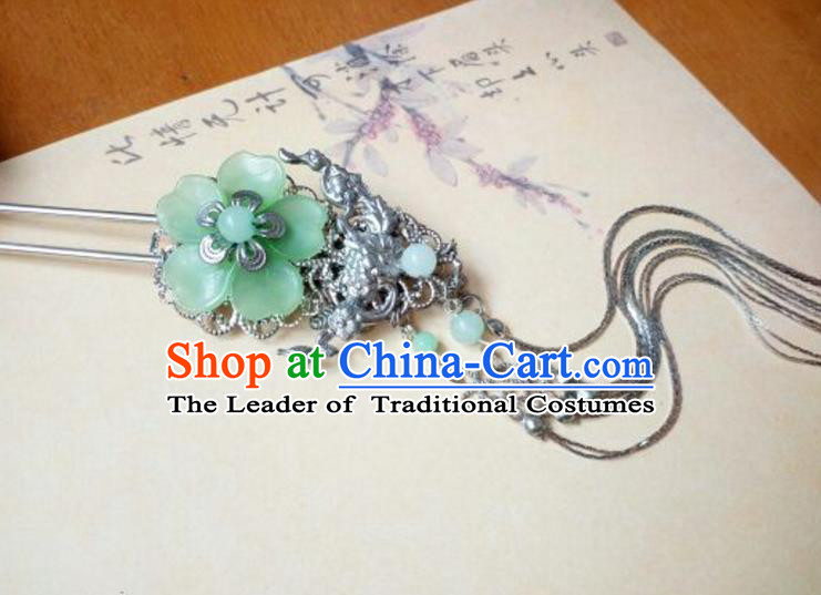 Traditional Handmade Chinese Ancient Classical Hair Accessories Hairpins Green Flower Tassel Step Shake for Women