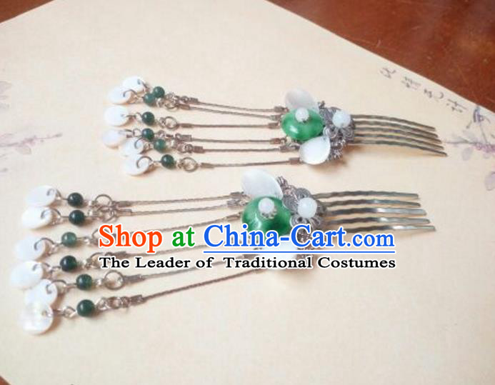 Traditional Handmade Chinese Ancient Classical Hair Accessories Hairpins Tassel Green Jade Hair Comb for Women