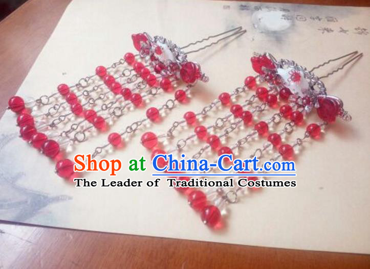 Traditional Handmade Chinese Ancient Classical Hair Accessories Red Beads Tassel Hairpins Headwear for Women
