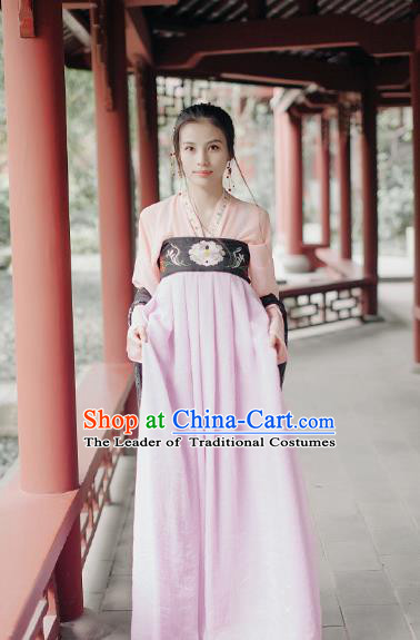 Traditional Chinese Tang Dynasty Young Lady Costume Embroidery Blouse and Slip Skirt, Elegant Hanfu Clothing Chinese Ancient Princess Clothing for Women
