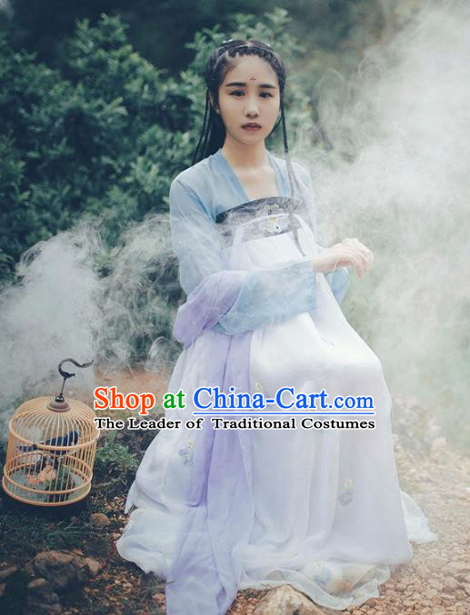 Traditional Chinese Tang Dynasty Young Lady Fairy Costume Blouse and Embroidery Slip Skirt, Elegant Hanfu Clothing Chinese Ancient Princess Clothing for Women