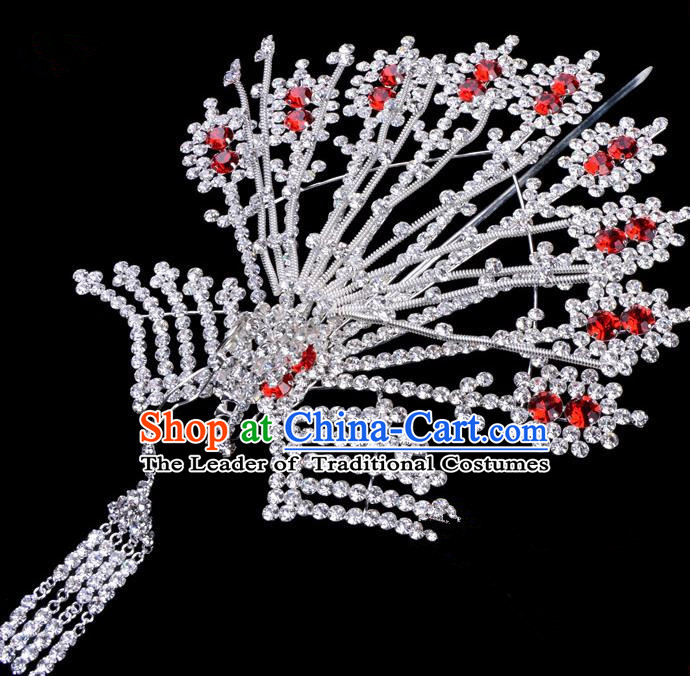 Traditional Beijing Opera Diva Hair Accessories Red Crystal Phoenix Hairpins, Ancient Chinese Peking Opera Hua Tan Tassel Step Shake Hair Stick Headwear