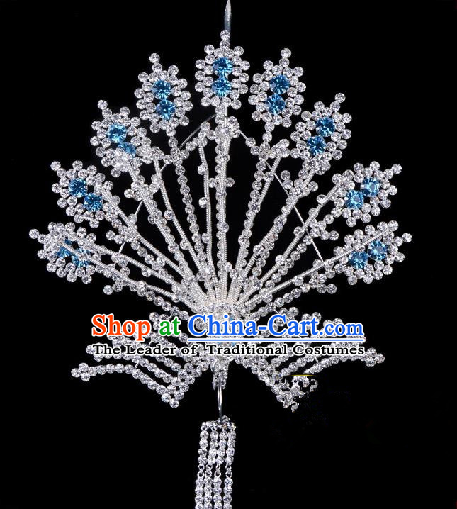Traditional Beijing Opera Diva Hair Accessories Blue Crystal Phoenix Hairpins, Ancient Chinese Peking Opera Hua Tan Tassel Step Shake Hair Stick Headwear