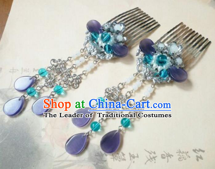 Traditional Handmade Chinese Ancient Classical Hanfu Hair Accessories Tassel Hair Comb, Princess Palace Lady Hairpins for Women