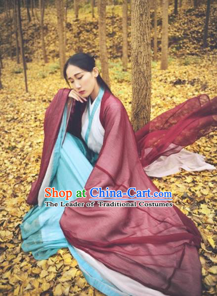 Traditional Ancient Chinese Han Dynasty Swordswoman Costume, Elegant Hanfu Chinese Ancient Young Lady Chivalrous Women Clothing