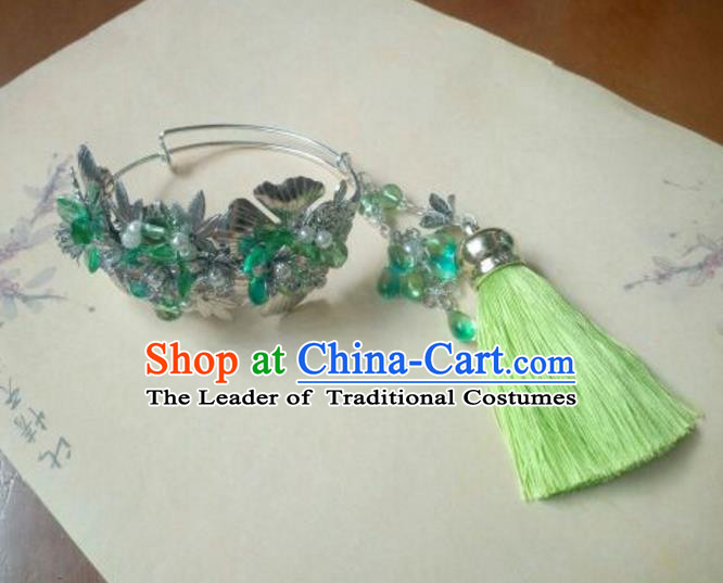 Traditional Handmade Chinese Ancient Classical Hanfu Bracelet, Princess Palace Lady Green Bangle for Women