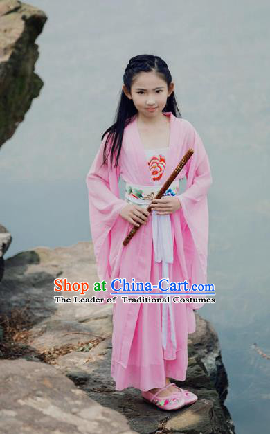 Traditional Ancient Chinese Princess Costume Palace Pink Slip Dress, Elegant Hanfu Clothing Chinese Han Dynasty Embroidered Clothing for Kids