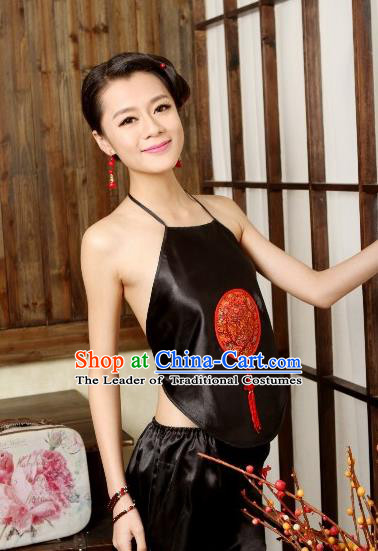 Traditional Chinese Ming Dynasty Princess Black Bellyband, China Ancient Palace Lady Stomachers Embroidery Undergarment for Women