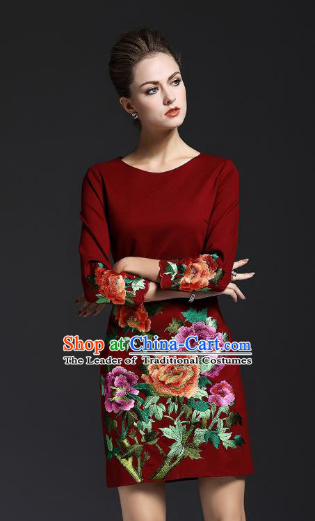 Top Grade Asian Chinese Costumes Classical Embroidery Peony Dress, Traditional China National Wine Red Chirpaur Qipao for Women