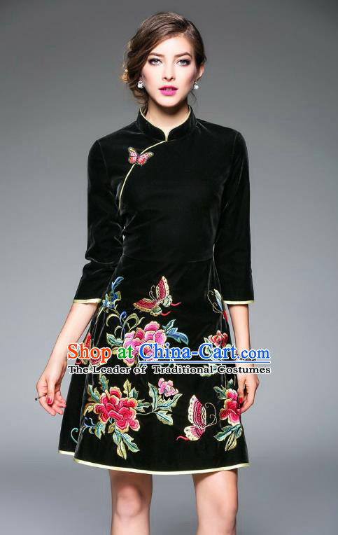 Top Grade Asian Chinese Costumes Classical Embroidery Butterfly Flowers Cheongsam, Traditional China National Middle Sleeve Chirpaur Dress Black Qipao for Women