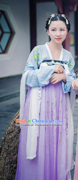 Traditional Asian Oriental China Costume Embroidery Palace Lady Blouse and Skirt Complete Set, Chinese Hanfu Tang Dynasty Princess Embroidered Dress for Women