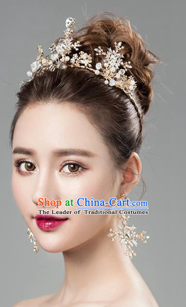 Top Grade Handmade Classical Hair Accessories Baroque Style Princess Crystal Royal Crown and Earrings Complete Set