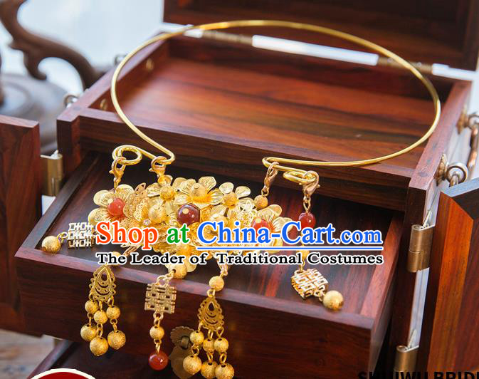 Aisan Chinese Handmade Classical Jewelry Accessories Tassel Necklace, China Xiuhe Suit Golden Tassel Necklet for Women