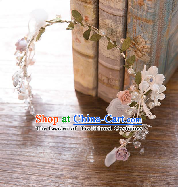 Top Grade Handmade Classical Hair Accessories Baroque Style Princess Flowers Hair Clasp Headwear for Women