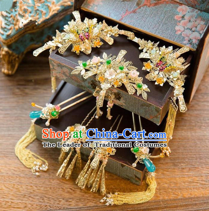 Aisan Chinese Handmade Classical Hair Accessories Blue Jade Hair Comb Complete Set, China Xiuhe Suit Tassel Step Shake Hairpins Wedding Headwear for Women