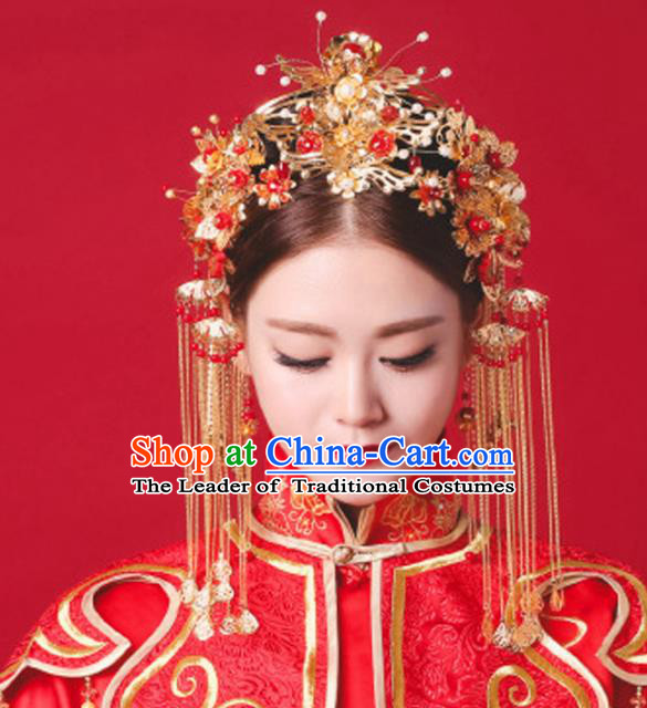 Aisan Chinese Handmade Classical Hair Accessories Complete Set Phoenix Coronet, China Xiuhe Suit Hairpins Wedding Headwear for Women