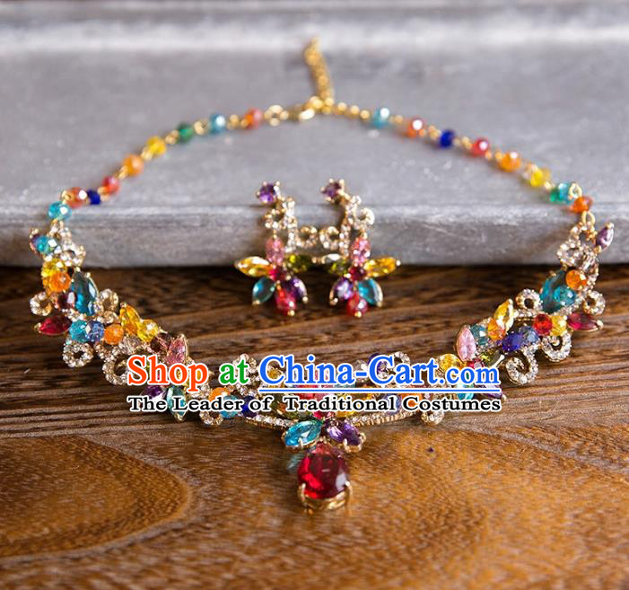 Top Grade Handmade Classical Jewelry Accessories Necklace, Baroque Style Princess Colorful Crystal Necklet Headwear for Women