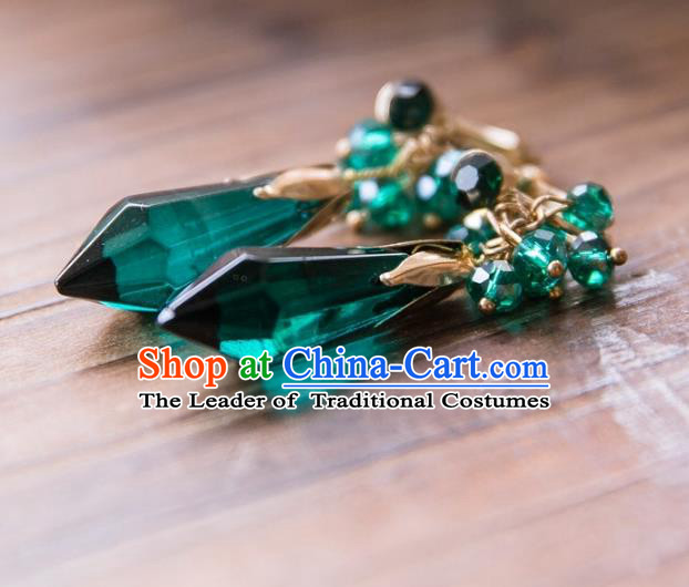 Top Grade Handmade Classical Hair Accessories Baroque Tassel Earrings, Princess Green Crystal Eardrop for Women