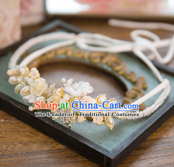 Chinese Handmade Classical Hair Accessories Pearl Flowers Hair Clasp, China Wedding Headband Headwear for Women
