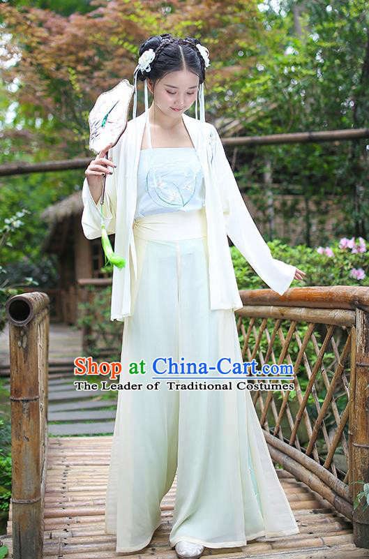 Traditional Asian Chinese Hanfu Costumes Song Dynasty Young Lady Embroidered Blouse and Pants Complete Set