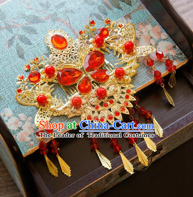 Chinese Handmade Classical Hair Accessories Bride Hair Comb, China Xiuhe Suit Hairpins Wedding Headwear for Women