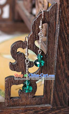 Chinese Handmade Classical Accessories Hanfu Green Crystal Tassel Earrings, China Xiuhe Suit Wedding Eardrop for Women