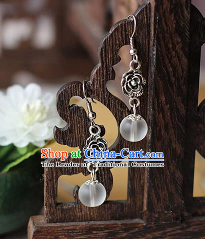 Chinese Handmade Classical Accessories Hanfu Earrings, China Xiuhe Suit Wedding Crystal Bead Tassel Eardrop for Women
