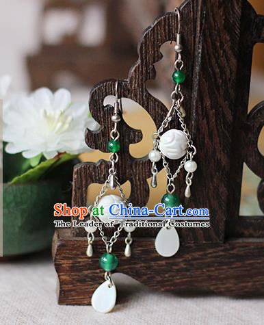 Chinese Handmade Classical Accessories Hanfu Earrings, China Xiuhe Suit Wedding Agate Beads Tassel Eardrop for Women