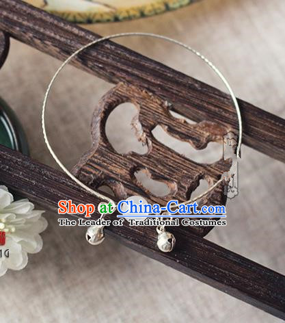Chinese Handmade Classical Accessories Hanfu White Bead Tassel Bracelet, China Ancient Bells Bangle for Women