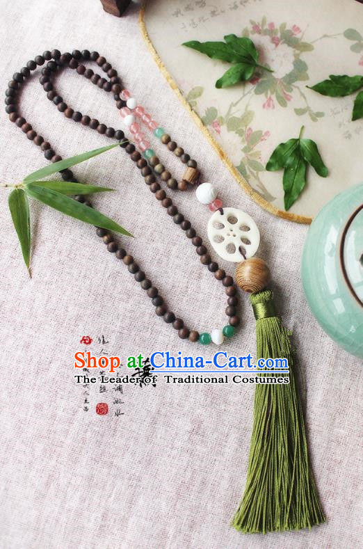 Chinese Handmade Classical Accessories Hanfu Verawood Beads Tassel Necklace, China Ancient Jade Necklet for Women