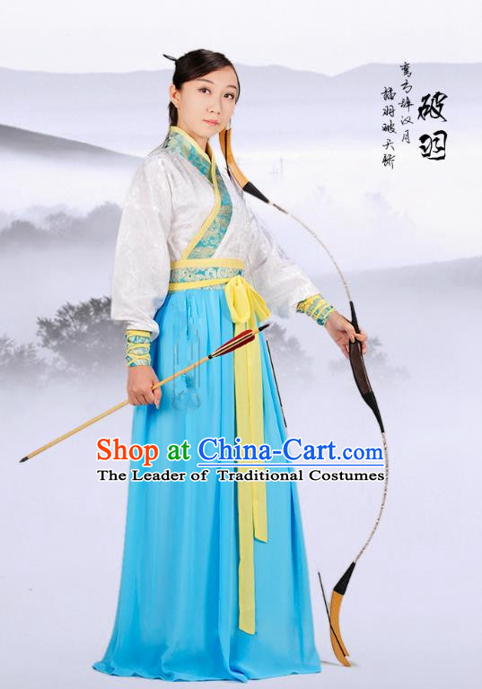 Traditional Ancient Chinese Ming Dynasty Swordswoman Costume, Chinese Hanfu Young Lady Embroidered Dress for Women