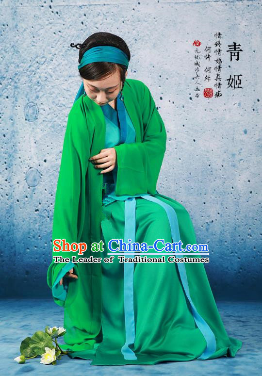 Traditional Ancient Chinese Song Dynasty Young Lady Costume, Chinese Hanfu Green Snake Fairy Dress for Women