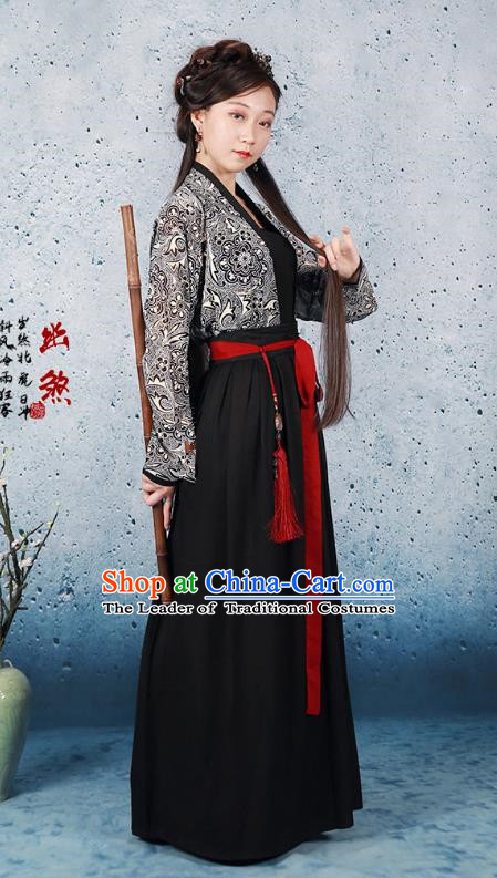 Traditional Ancient Chinese Han Dynasty Swordswoman Costume Blouse and Skirt, Chinese Hanfu Chivalrous Women Clothing