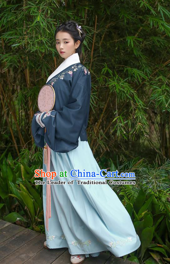 Traditional Asian Chinese Hanfu Costumes Ming Dynasty Princess Embroidered Slant Opening Navy Blouse and Blue Skirts Complete Set