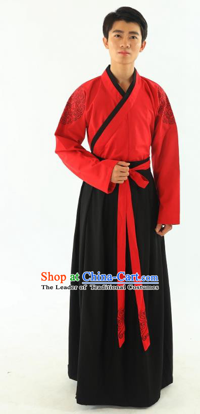Traditional Oriental China Han Dynasty Wedding Costume Red Robe, Chinese Ancient Bridegroom Embroidered Clothing for Men