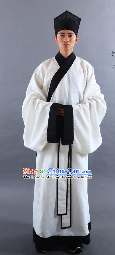 Traditional Oriental China Han Dynasty Costume Ancient Officer Long Robe for Men