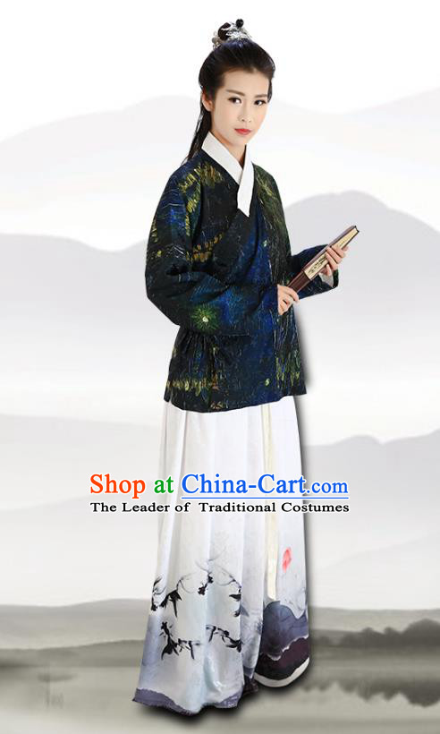 Traditional Chinese Ming Dynasty Young Lady Costumes Ancient Blouse and Printing Lotus Slip Skirts for Women