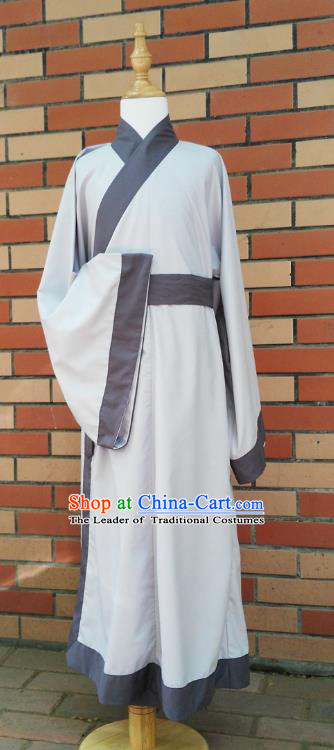 Traditional Asian China Han Dynasty Costume Chinese Hanfu Grey Long Robe for Men