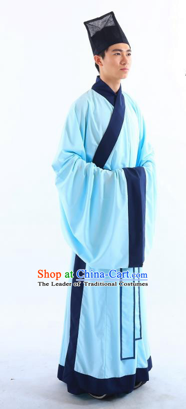 Traditional Asian China Ming Dynasty Costume Chinese Ancient Hanfu Officer Blue Long Robe for Men