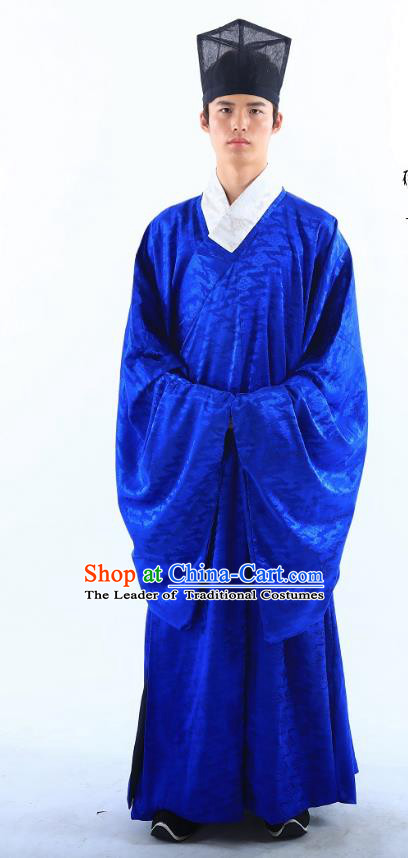 Traditional Asian China Ming Dynasty Costume Chinese Ancient Hanfu Officer Royalblue Long Robe for Men