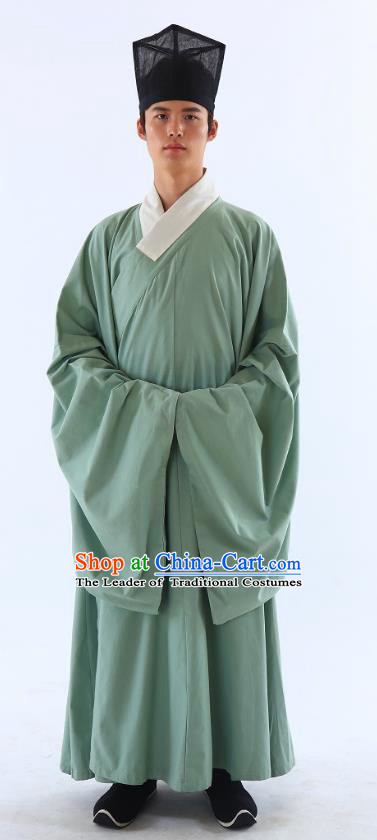 Traditional Asian China Ming Dynasty Costume Chinese Ancient Hanfu Officer Scholar Long Robe Green Priest Frock for Men