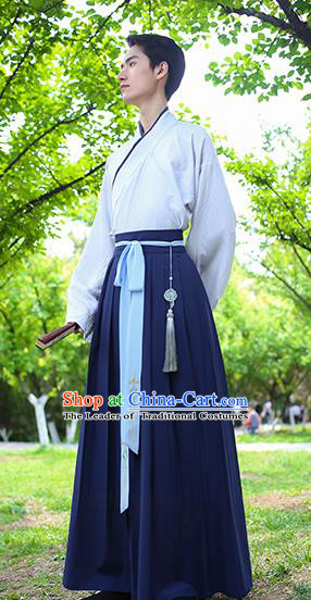 Traditional Chinese Hanfu Costumes Ancient Han Dynasty Young Men Embroidery Shirts and Skirts Complete Set