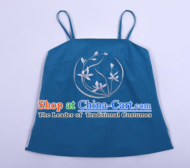 Traditional Chinese Ancient Hanfu Costumes, Asian China Song Dynasty Embroidery Suspenders Vest Blue Bellyband for Women