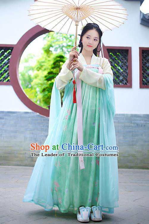 Ancient Chinese Palace Princess Costume, Traditional China Tang Dynasty Empress Clothing Blouse and Green Skirt Complete Set for Women