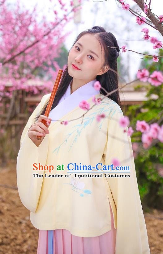 Ancient Chinese Palace Princess Hanfu Costume, Traditional China Ming Dynasty Young Lady Yellow Embroidery Blouse and Pink Skirt Complete Set