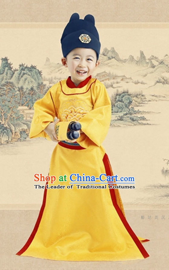 Ancient Chinese Tang Dynasty Emperor and Hat Clothing Complete Set for Men Boys Children Kids